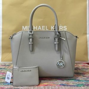 Michael Kors Ciara Large TZ Cement and Wallet.